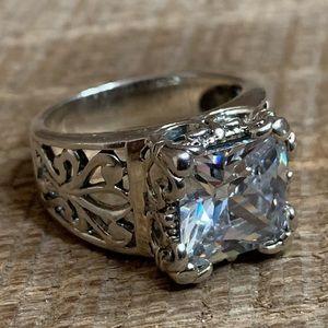 Silpada 925 Sterling CZ Square Filigree Ring